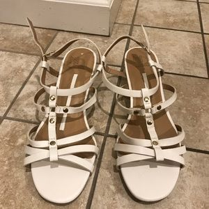New white sandals with small wedge. Size 9.